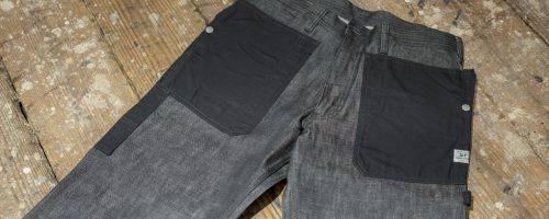 SASSAFRAS / FALL LEAF GARDENER PANTS – BLACK DENIM × 60/40CLOTH